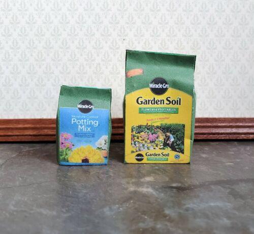Dollhouse Miniature Miracle Grow Garden Soil /& Potting Mix Bags  1:12 Scale Dirt