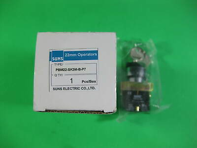 SUNS PBM22-SK3M-B-P7 22mm Key Selector Switch Metal 3-Position Maintained 2NO