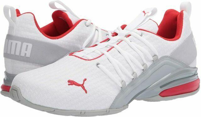 PUMA Axelion Block Athletic Shoe for Men, Size 10.5 - White/Red ...