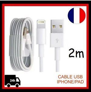 Cable-USB-2M-Chargeur-pour-IPhone-5-5S-5C-6-6plus-6S-6S-Plus-7-7-8-8-X-IPad