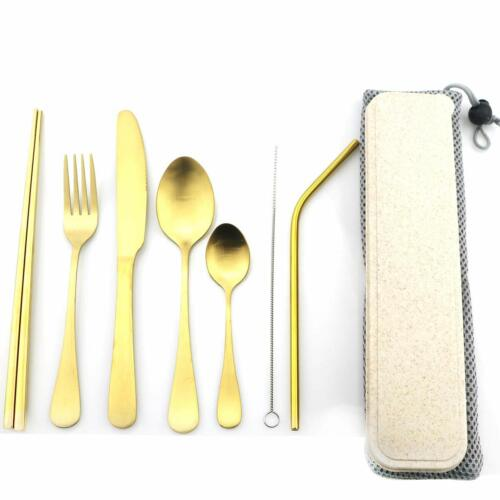 Gold Fork Spoon Chopsticks Stainless Steel Portable Travel Cutlery Set of 1