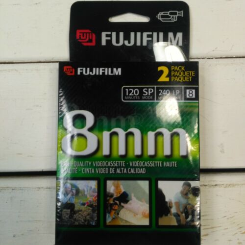 New Genuine FujiFilm 8mm High Quality Videocassette 120 SP 240 LP 2 Pack