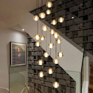 san francisco 0f1c4 34459 Details about LED Crystal Chandelier Stair Ceiling Light Luxury Meteor Rain  Ball Pendant Lamp
