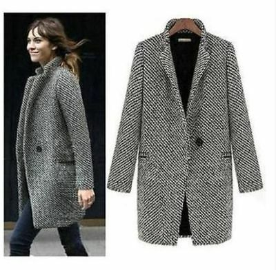 Fashion Women Warm Wool Cashmere Long Winter Parka Coat Outwear Trench Jacket