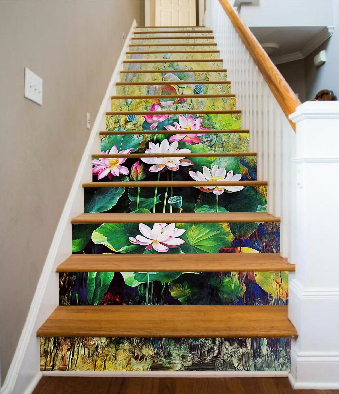 3D Lotus Painting 8 Stair Risers Decoration Photo Mural Vinyl Decal Wallpaper AU