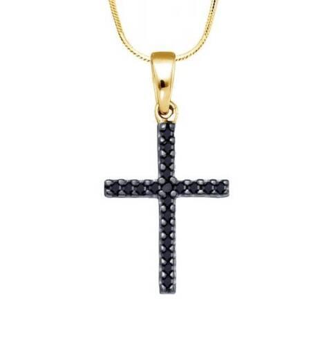 Black Diamond Croix 10K or Jaune Diamant Noir Petit Pendentif Croix .19 ct