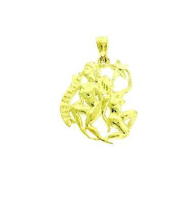 New 14k Yellow Gold Gemini Zodiac Pendant