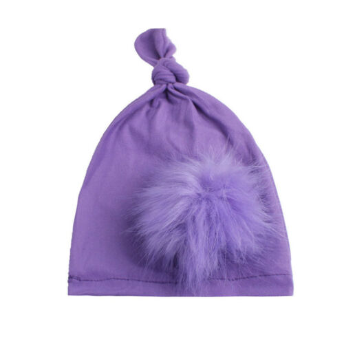 Velvet Pompom Faux Fur Puff Ball Fluffy Turban Beanie Cap Sleeping Hat D