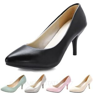Plus-size-high-heels-office-Pumps-Womens-pointed-toe-Mid-heel-Shoes-tata-mens