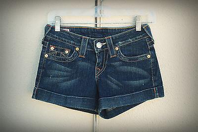 TRUE RELIGION ALLIE Size 26 Hot Mini Denim Short Shorts Cuffs USA