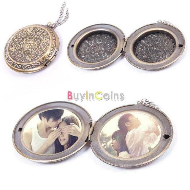 Woman Man Bronze Round Hollow Photo Frame Locket Long Chain Necklace ...