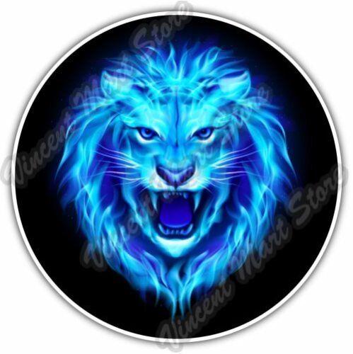 "Head of Aggressive Blue Fire Lion Car Bumper Window Vinyl Sticker Decal 4.6/"""