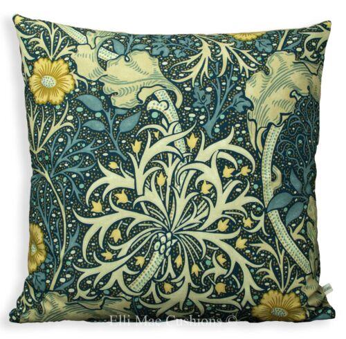 William Morris algues bleu foncé tissu Vintage Designer Cushion Pillow Cover