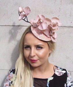 60% Freigabe speziell für Schuh abwechslungsreiche neueste Designs Details zu Pink Hautfarben Beige Orchidee Blume Fascinator Hut Hochzeit  Haarspange Rennen