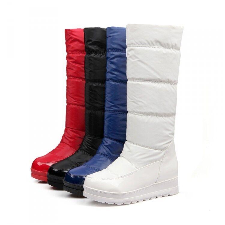 Womens Winter Snow Knee High Boots Wedge Heels Platform Waterproof shoes сапоги