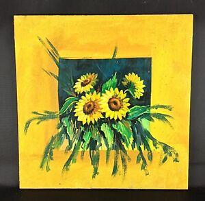 Petite Peinture Tableau Acrylique Sur Panneau Tournesols Periode Vintage Ebay