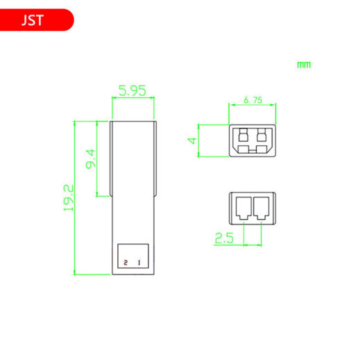 2.54mm Pitch Verbinder Housings Weiblich And Male JST-2P Pin Single Row Housing