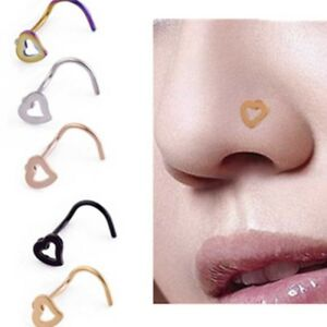 Heart Nose Studs Shapes Pins Rings Charm Women Jewelry For Gift C