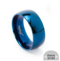 Mens 8mm Blue Ip Stainless Steel Round Wedding Band Ring High Polished Finish