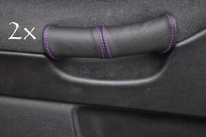 FITS BMW E36 1991-1998 2X DOOR HANDLE COVERS BLACK LEATHER black stitching