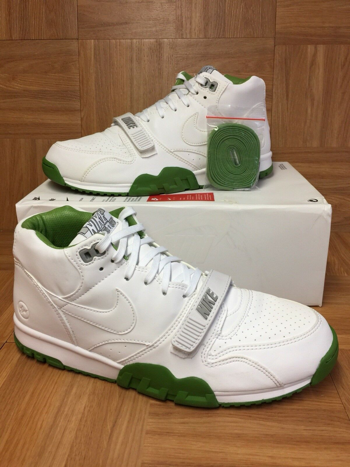 RARE Nike Air Trainer 1 Mid SP Fragment White Chlgoldphyll Sz 10.5 806942-113
