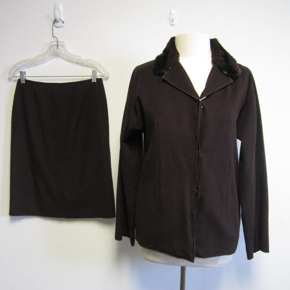 Vintage FENDI brown cashmere & Lapin fur collar skirt suit sz 6 8