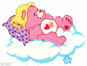 "6/"" Care bears cloud love-a-lot pillow glow in the dark fabric applique iron on"