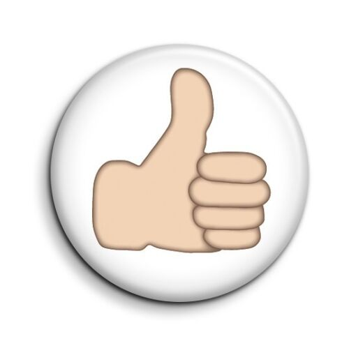 Thumbs Up Emoticon Emoji Funny Cute Facebook Button Pin Badge 38mm//1.5 inch