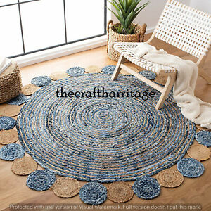 Cotton Round Colourful Rug Living Room