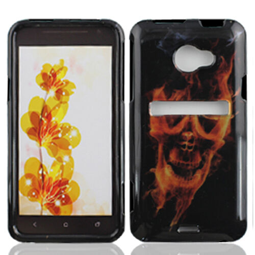 For HTC EVO 4G LTE Protector HARD Case Snap on Phone Cover Fire Skull