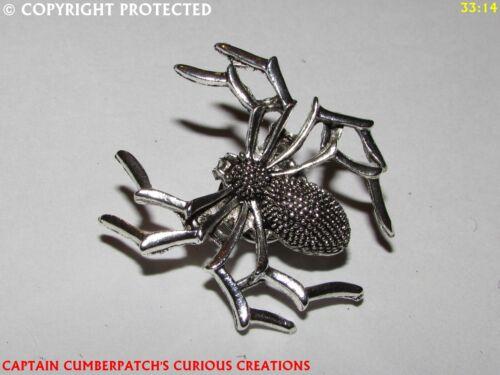 Plata Gótico Steampunk broche insignia con Araña Telaraña arácnido Arachnophobia #JP40