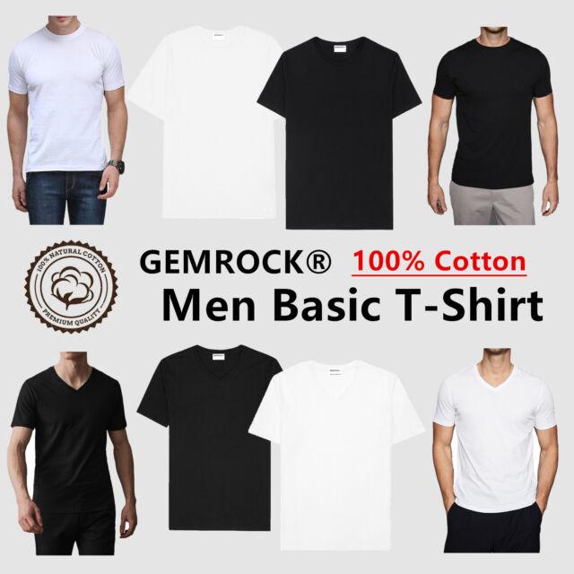 Mens V NECK T SHIRT Plain Solid Color Tee Top Short Sleeve BLACK WHITE Size 3XL