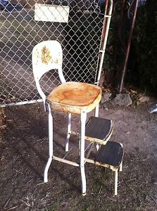 Vtg Mid Cent Rustic Chair Step Stool Kitchen Bathroom Seat