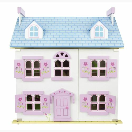 P NEUF LEOMARK EN BOIS BLANC Maison de poupées avec furnitre et poupées gratuit P