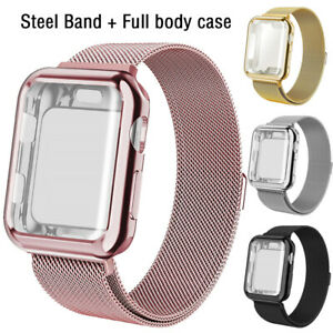 For Apple Watch Band With Screen Protector Case Series 5 4 3 2 1 44mm 38 40 42mm Ebay