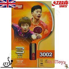 DHS tennis da tavolo Pipistrello R3002 shakehand Grip Racchetta + 2 GRATIS Protettori! UK Shop