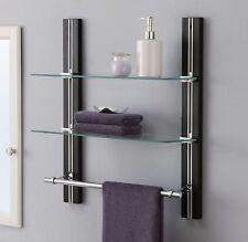 Bathroom Shelf Organizer Gl Towel Rack Bar Wall Mounted Holder 2 Tier Storage