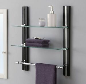 Bathroom shelf organizer glass towel rack bar wall mounted - 2 tier bathroom shelf with towel bar ...