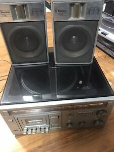 Vintage-Emerson-AM-FM-Stereo-Cassette-Recorder-With-Turntable-MC-1255