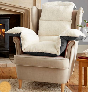 Details About Lumbar Back Support Cradle Teddy Fleece Armchair Cushion Comfort Disability Aid