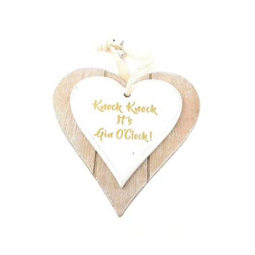 Shabby Chic Double Heart Hanging Novelty Door Wall Plaques Various Designs.