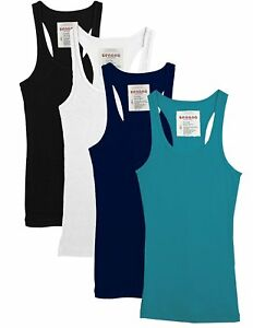 New-Women-039-s-Ribbed-Basic-Tank-Top-with-Racerback-Many-Colors-S-M-L