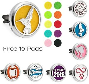 New-Car-Vent-Clip-Air-Freshener-Essential-Oil-Diffuser-Locket-Car-Gift-10Pads