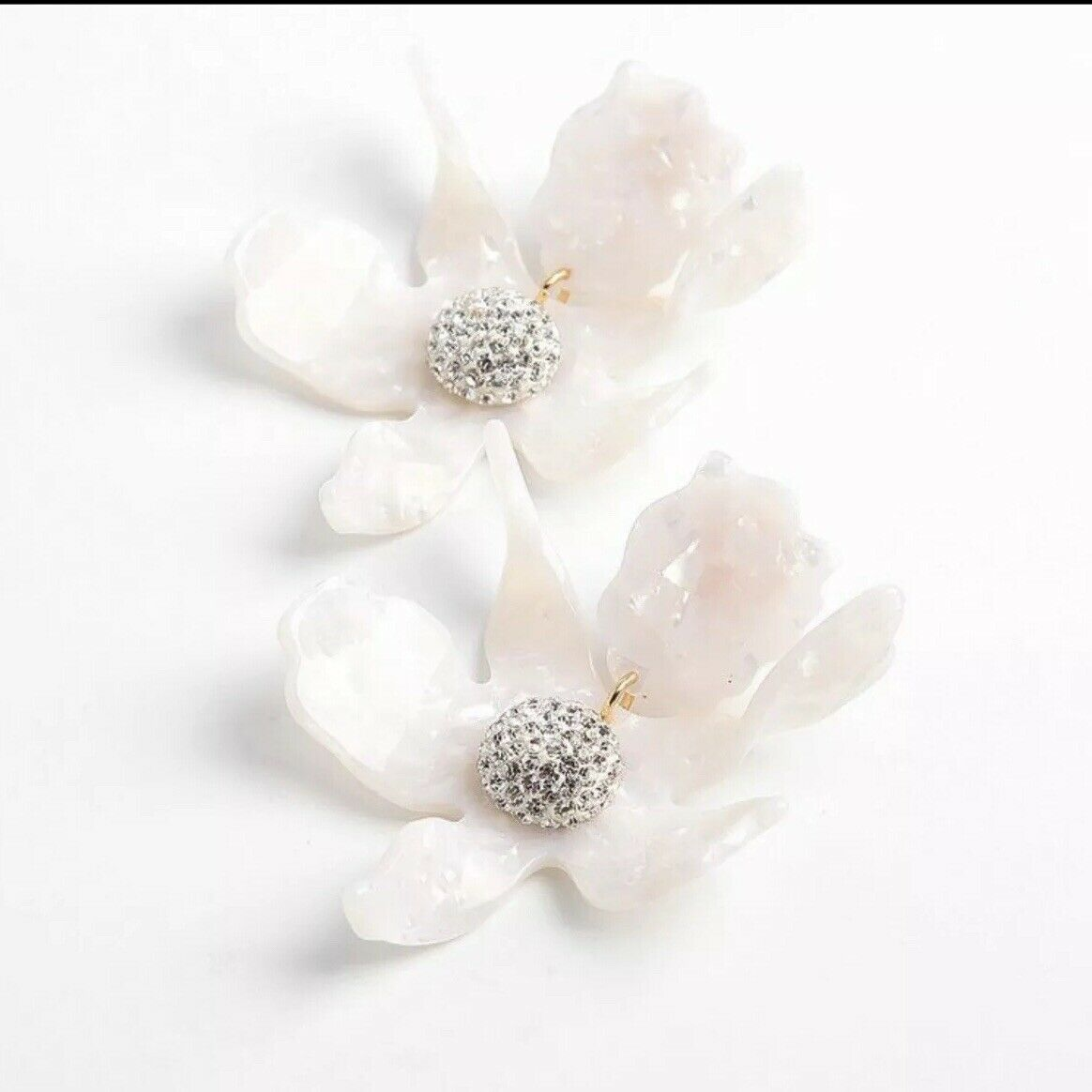 LELE SADOUGHI AUTHENTIC CRYSTAL LILY MOTHER OF PEARL SIGNED CLIP EARRINGS-NEW