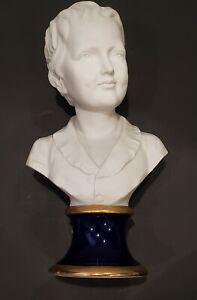 Bisque Bust of a Child - Boy - Cobalt Porcelain Stand