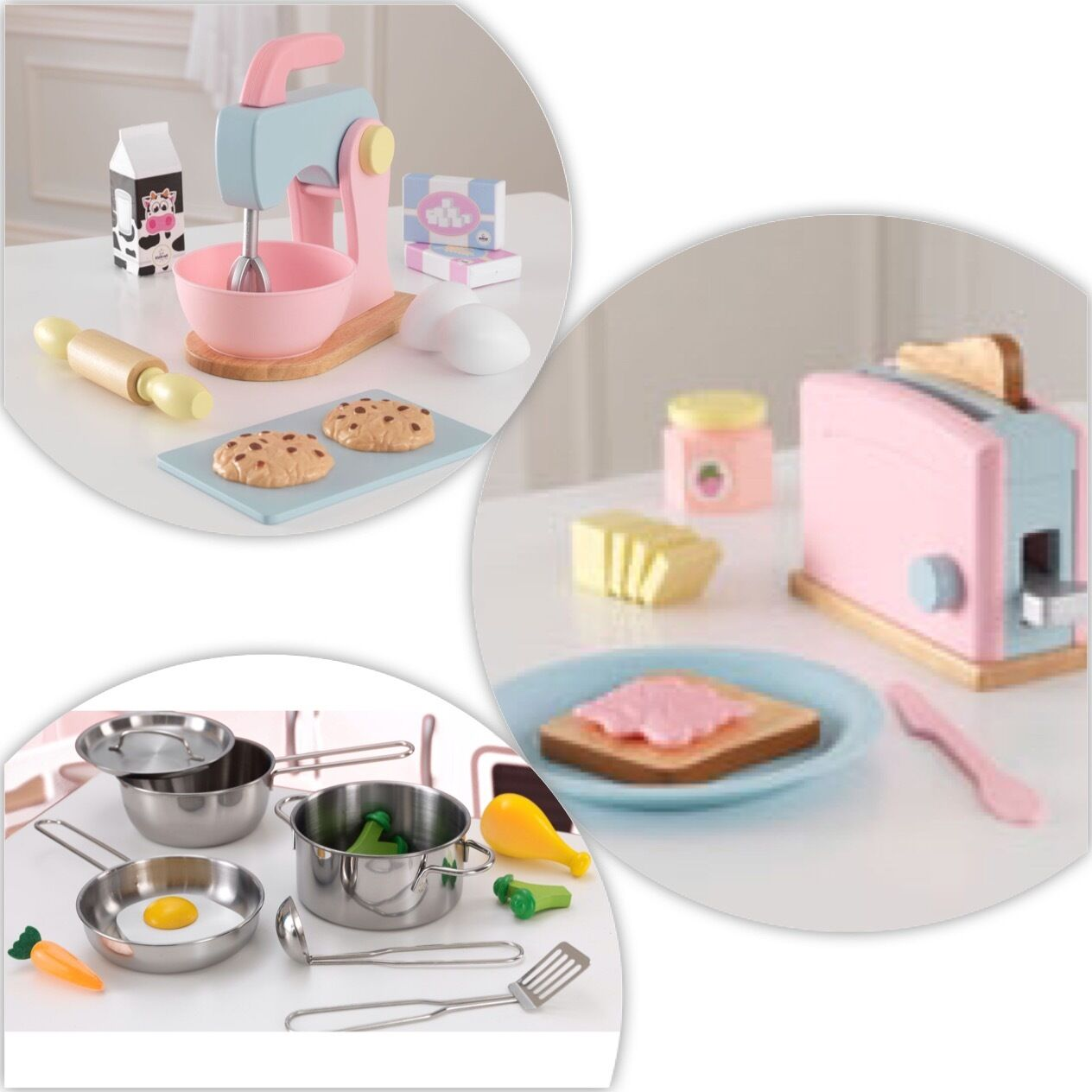 3 Kidcraft Sats ( Pastel Baking set, Pastel Toaster Set, Pots och Pans)