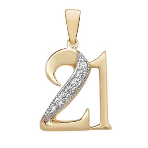 9 quilates oro amarillo y CZ allanar conjunto 21st Cumpleaños Colgante Peso 1.0g 10x12mm