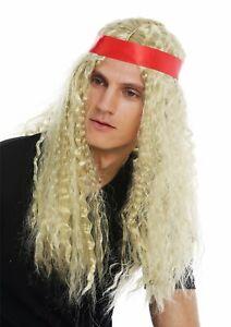 Perruque-Carnaval-Femme-Homme-Long-Bandeau-Crete-Moyen-Hippie-Blonde-Boucles