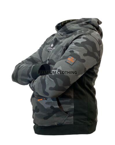 Mens Crosshatch Camo All Over Print Hoodie Hooded Zip Pullover Jumper Sweatshirt