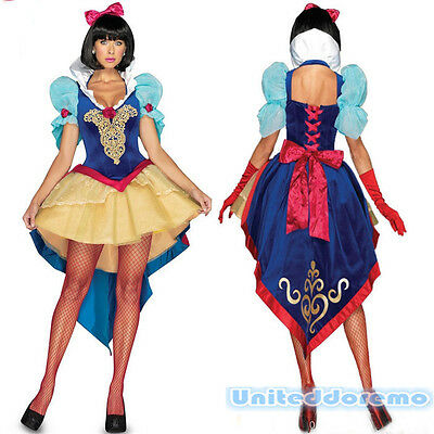 New Snow White Cosplay Dress Halloween Xmas Party Fairy Tail Princess Costume